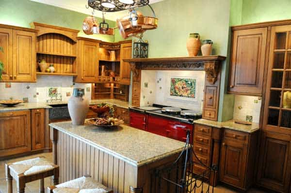 Country Kitchen With Red Accent   Minneapolis Painting Company