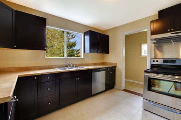 Dark kitchen cabinets minneapolis painting company for Painting kitchen cabinets black