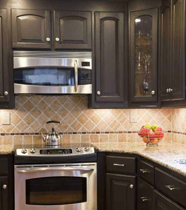 Dark kitchen minneapolis painting company for Painting kitchen cabinets black