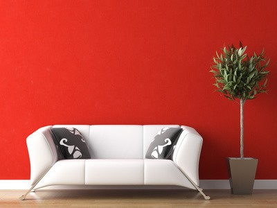 Superieur Interior Design Of White Couch On Red Wall