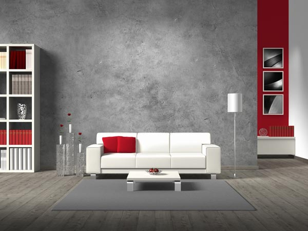 Grey Wall With Red Accents