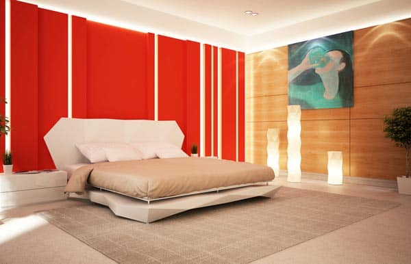 Red bedroom accent wall minneapolis painting company - Bedroom with red accent wall ...