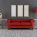 grey room with red couch