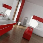 bathroom with red accents