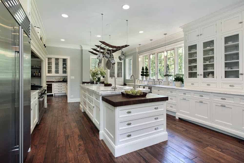 White Enameled Kitchen Cabinets